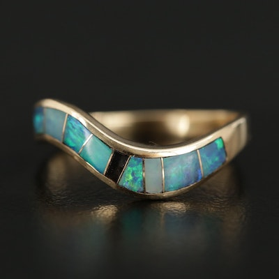 14K Yellow Gold Opal Inlay Contoured Ring