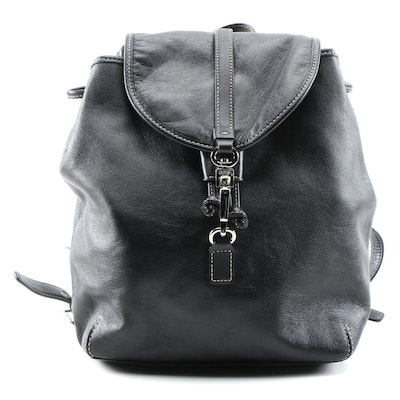 Coach Black Leather Backpack Purse with Contrast Stitching