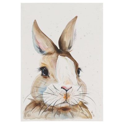 Anne Gorywine Watercolor Portrait Painting of Rabbit