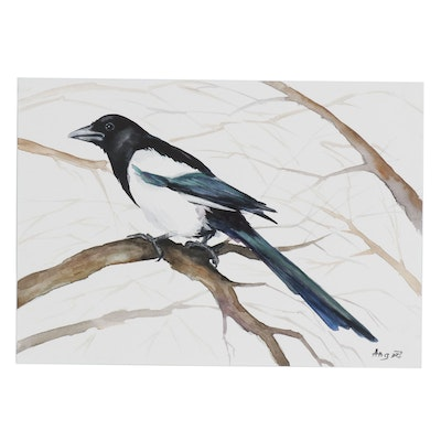 Anne Gorywine Watercolor Painting of Magpie Bird on Tree Branch