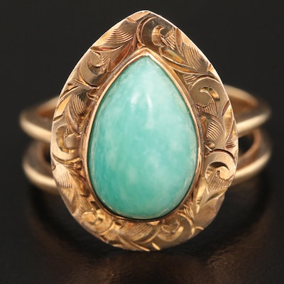 14K Yellow Gold Amazonite Ring