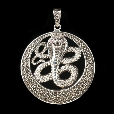 Sterling Silver Marcasite and Ruby Cobra Pendant