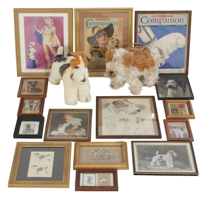 Fox Terrier Framed Offset Prints, Soft Sculpture and Small Handbag