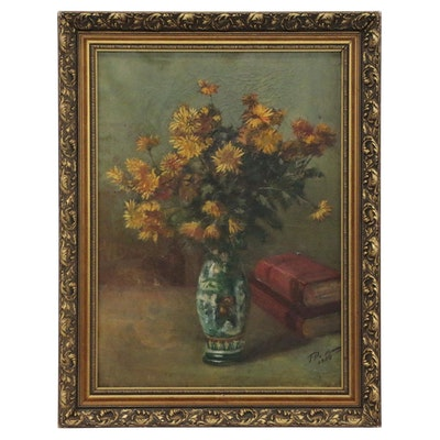 Floral Still Life Oil Painting, 1914