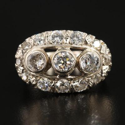 Vintage 14K White Gold 2.09 CTW Diamond Ring