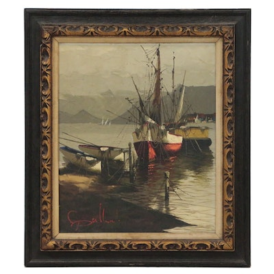 Harbor Scene Oil Painting, Mid 20th Century