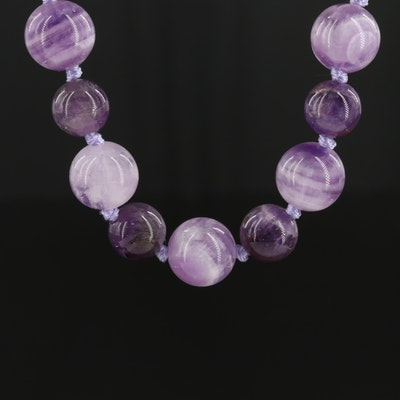Sterling Silver Amethyst Knotted Bead Necklace