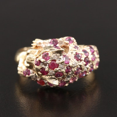 14K Yellow Gold Ruby and Diamond Leopard Ring