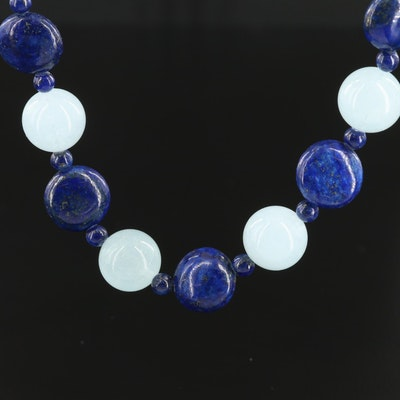 Sterling Silver Aquamarine and Lapis Lazuli Bead Necklace