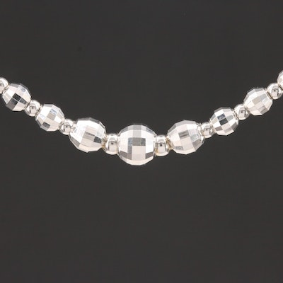 14K White Gold Necklace Featuring Faceted Bead Accents