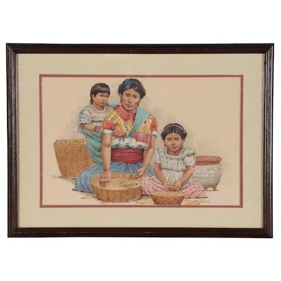 "Ray Lopez Figural Mixed Media Painting ""La Sierra Cuetzalan, Puebla"", 1988"