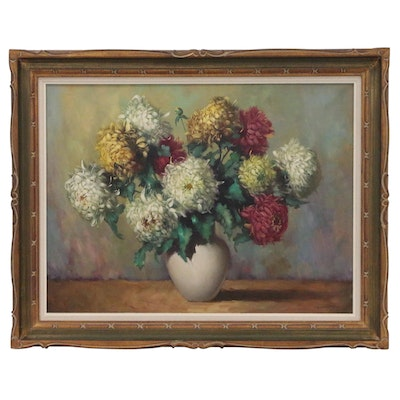 Helmuth Andreas Volkwein Floral Still Life Oil Painting