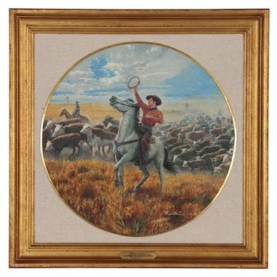"Morton Kunstler Western Oil Painting ""Oklahoma!"", 1984"