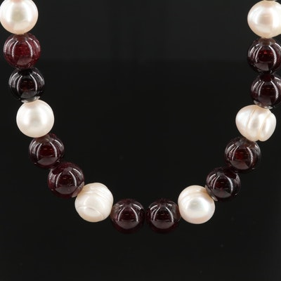 Sterling Silver Rhodolite Garnet and Pearl Necklace