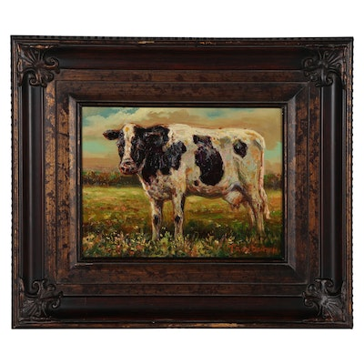 Troy Denton Oil Painting of Cow