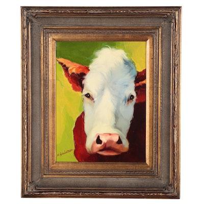 R. Henderson Oil Portrait of Cow
