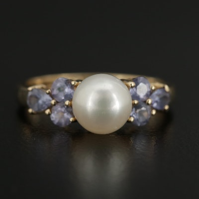 14K Yellow Gold Cultured Pearl and Tanzanite Ring
