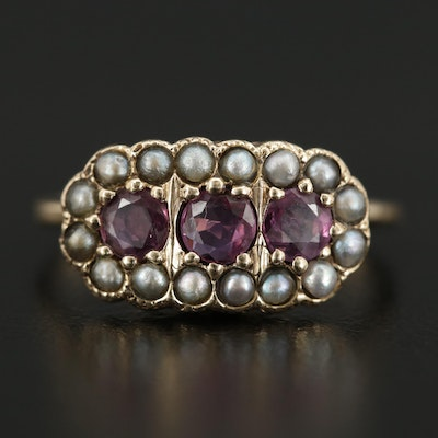 Victorian 14K Yellow Gold Ruby and Seed Pearl Ring