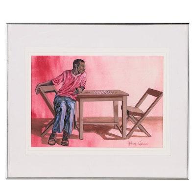 Anthony Cardoso Figural  Gouache Painting
