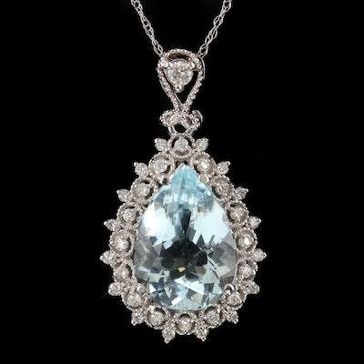 14K White Gold 5.35 CT Aquamarine and Diamond Pendant Necklace