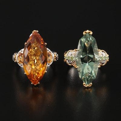 Sterling Silver Citrine, Prasiolite and Peridot Rings