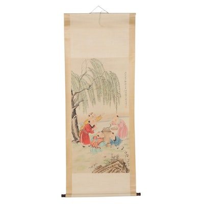 Chinese Gouache and Watercolor Painting of Children on Hanging Scroll
