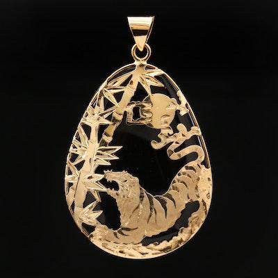 14K Yellow Gold Smoky Quartz Asian Motif Tiger Pendant