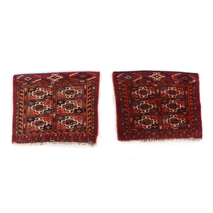1'5 x 1'4 Hand-Knotted Persian Turkmen Tekke Bokhara Face Bags