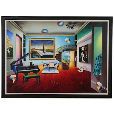 Ferjo Monumental Surrealist Oil Painting of Interior Scene