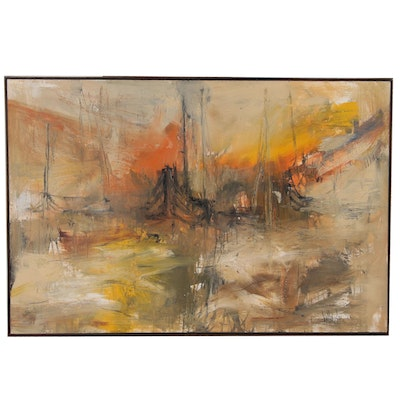 Gino Hollander Monumental Abstract Expressionist Oil Painting of Harbor Scene