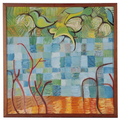 """Abstract Oil Painting """"The Sanctity of Birds"""", Late 20th Century"""