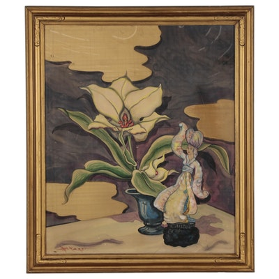 William Edwin Fager Still Life Gouache Painting