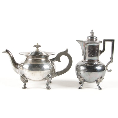 Lawrence Smith Silver Plate Teapot and Meriden Britannis Silver Plate Demitasse