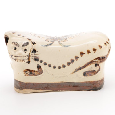 Chinese Ceramic Guardian Lion Opium Pillow
