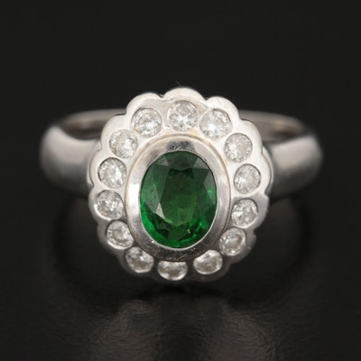 14K White Gold Tsavorite Garnet and Diamond Halo Ring