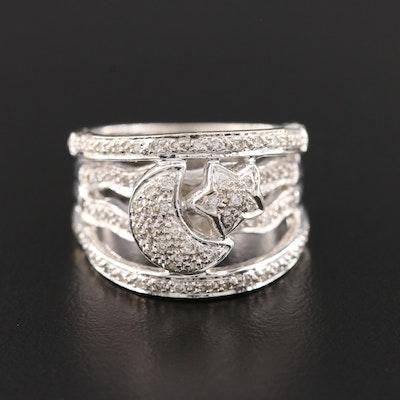 14K White Gold Diamond Pavé Set Moon and Star Ring