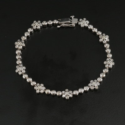 14K White Gold 1.00 CTW Diamond Floral Bracelet