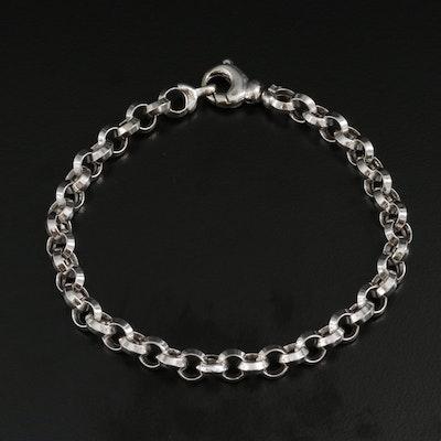 14K White Gold Chain Link Bracelet