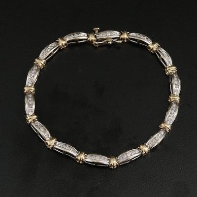 14K Yellow and White Gold 1.05 CTW Diamond Link Bracelet