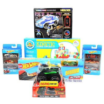 Atwood Toys Kinetic Domino Toppling Kit, Dyno RC Stunt Car, and Other Toys