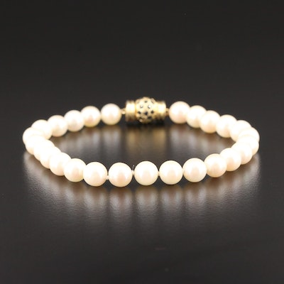14K Yellow Gold Cultured Pearl and Sapphire Bracelet