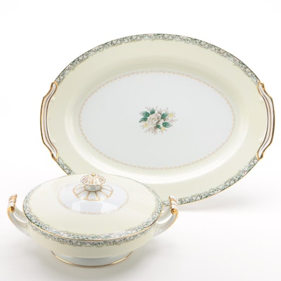 Noritake Porcelain Covered Vegetable Dish and Platter, Mid-20th Century