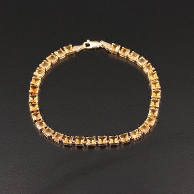 14K Yellow Gold Citrine Hinged Link Bracelet