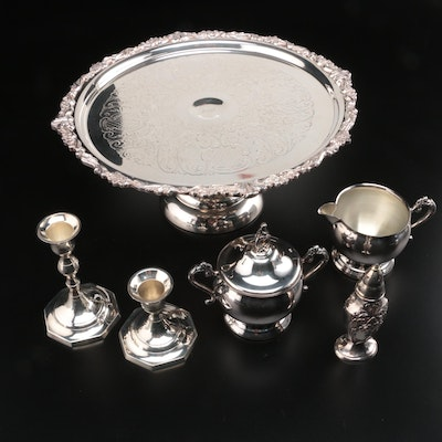 Sheridan Silver Plate Cake Stand with Other Silver Plate Serveware