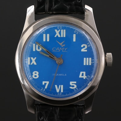 Vintage Camy Stainless Steel Stem Wind Wristwatch