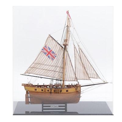 British Navy 1797 Cutter Ship Model and Custom Case