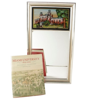Miami University Reverse Painted Trumeau Mirror and Book