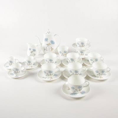 "Wedgwood ""Ice Rose"" China Coffee Set, Mid to Late 20th Century"