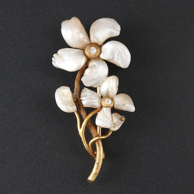 Vintage 14K Yellow Gold Diamond and Pearl Brooch
