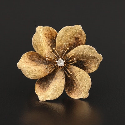 Victorian 14K Yellow Gold Diamond Flower Converter Brooch